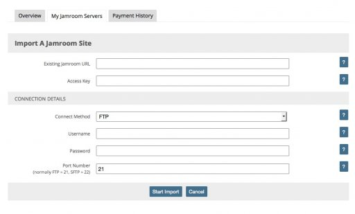 Enter the FTP or SFTP credentials for the existing site