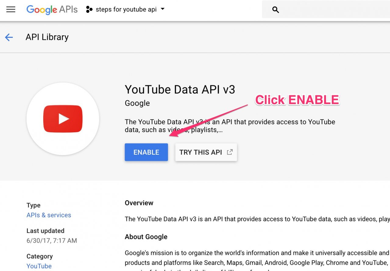 How to get your youtube api key youtube importer - Click On The Create Credentials Drop Down And Select Api Key