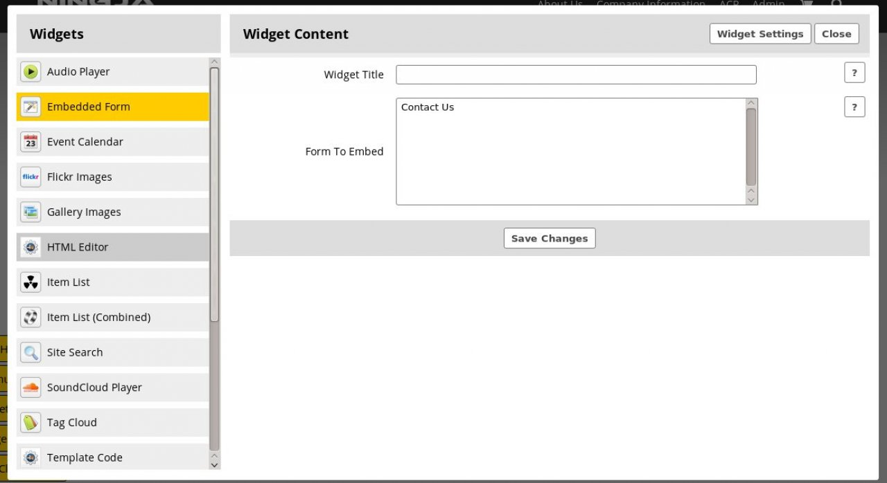 Widget: Embeded Form