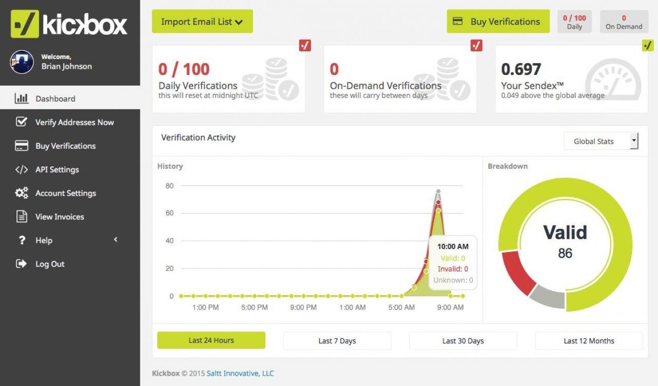Screenshot of the Kickbox.io interface