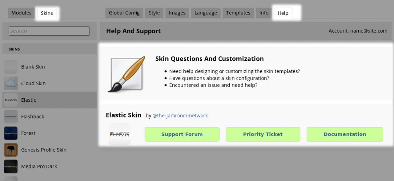 Help tab on a Skin