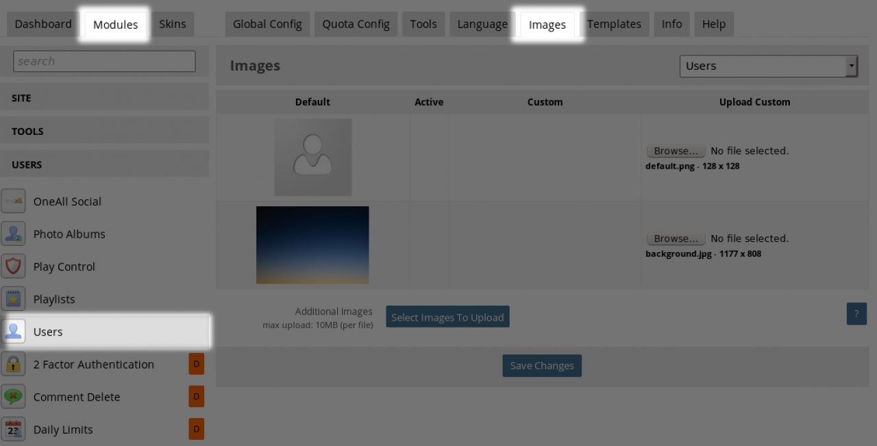 The IMAGES tab