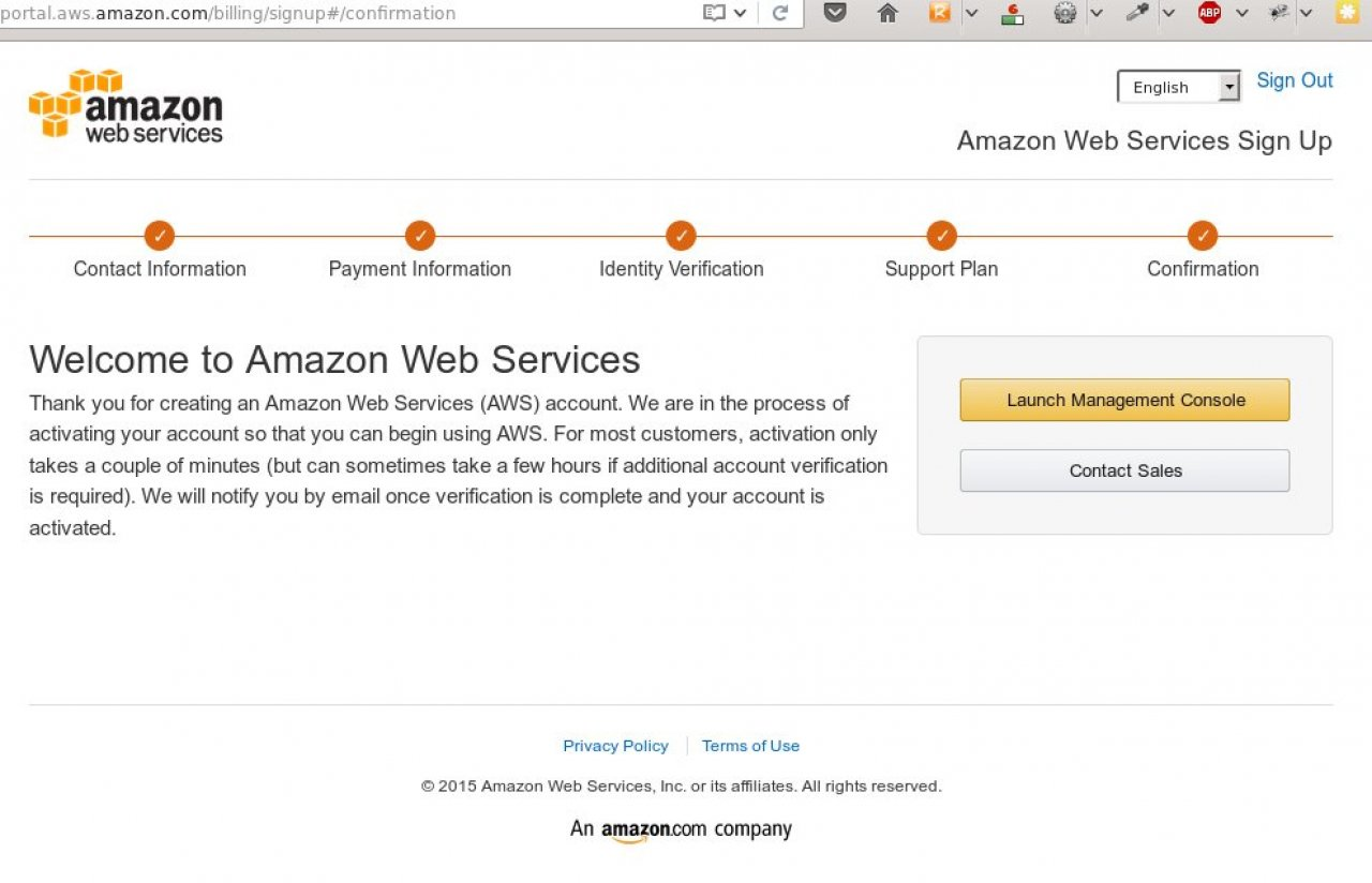 Complete the Amazon Web Services signup