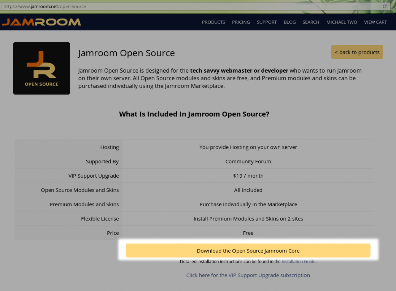 Download the Open Source Jamroom Core
