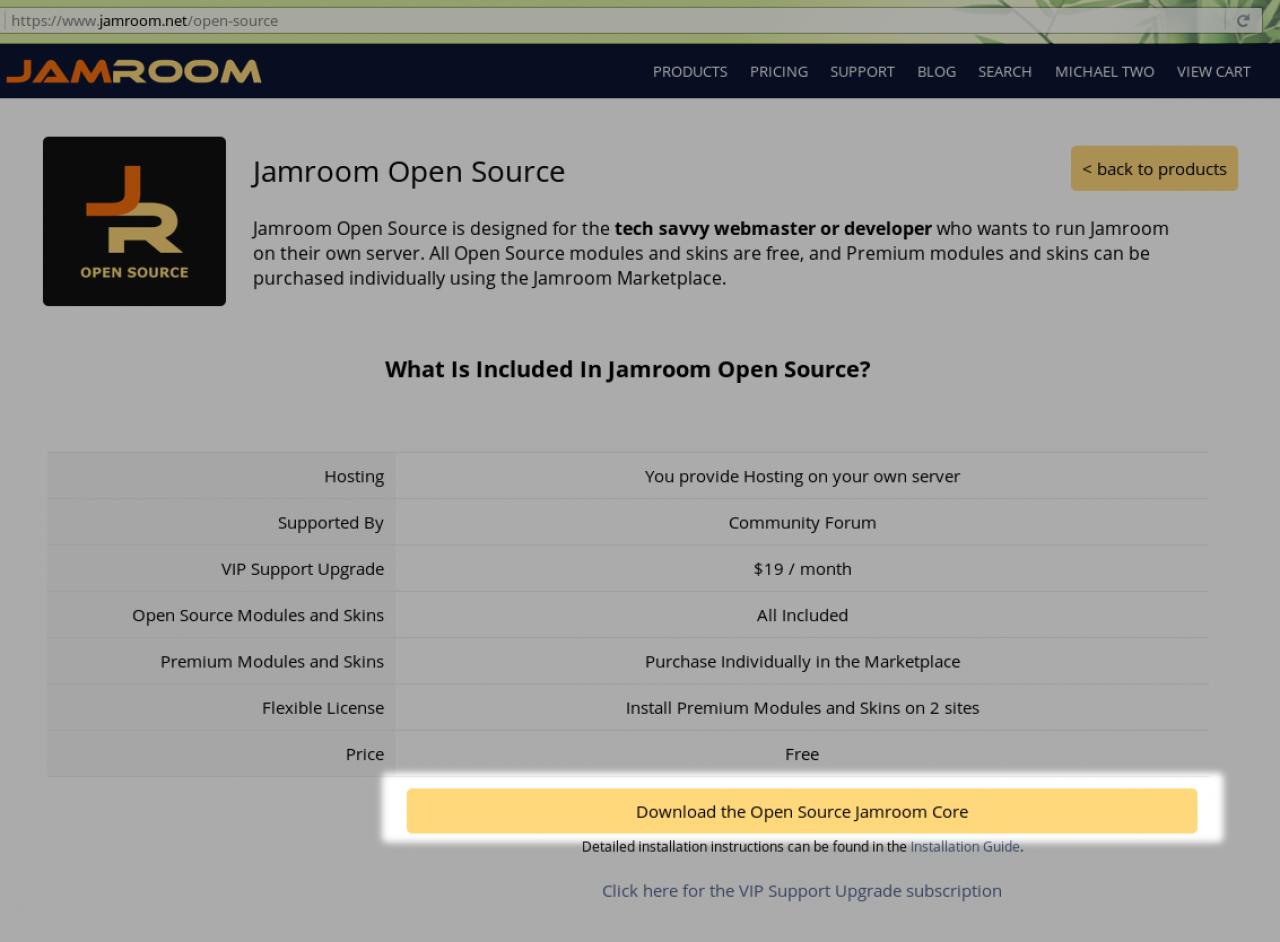 Download the Open Source Jamroom Core