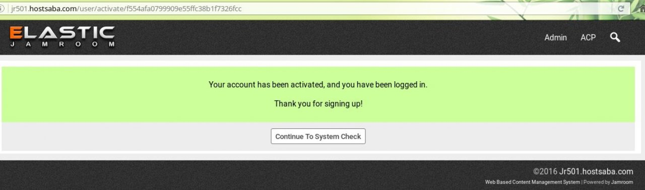 Continue to System Check