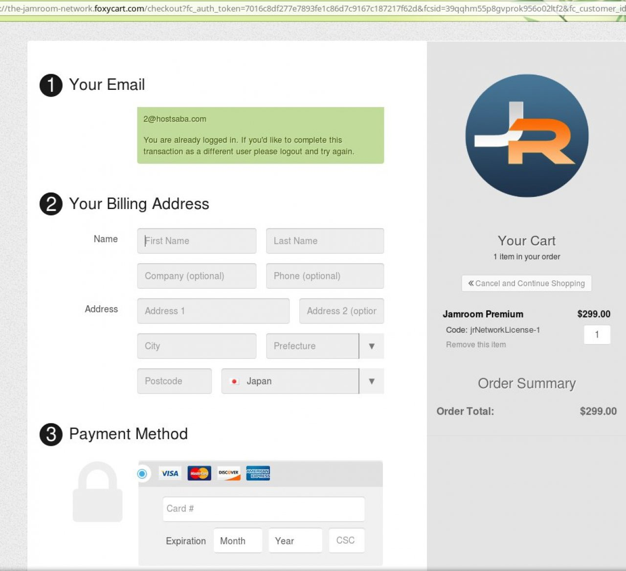 Checkout details page is shown