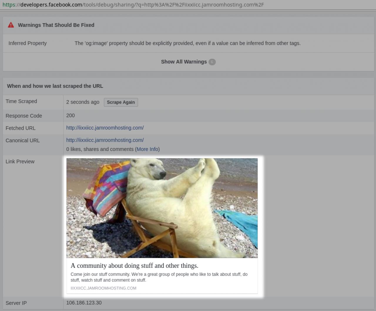 Finished Facebook snipit